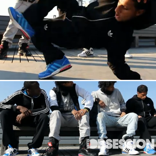 In an effort to  the promote the release of the new Mega sneaker collection, Adidas pairs up with French coder Dider Brun to create a sneaker that makes music by moving your feet.  Check out the video below filmed by YakFilms where French hip-hop dancers Les Twin Bboy Lamine and Bboy Mounir  wear Adidas Megalizers and dance to th tune of their feet.