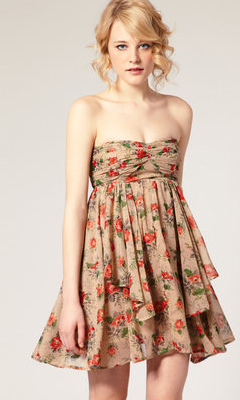 Five Flirty Floral Dresses for Summer: ASOS Floral Print Chiffon Layered Bandeau Dress