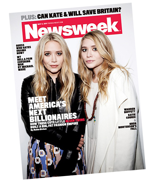 Mary-Kate and Ashley Olsen on the cover of 'Newsweek.'
