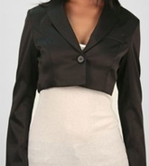 Kensie Cropped Tuxedo Jacket in Black