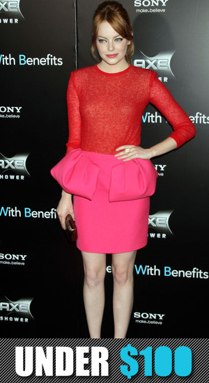 Under $100: Emma Stone's Pink and Red Giambattista Valli Red Carpet Outfit