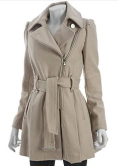 Kenneth Cole Zip Front Belted Coat