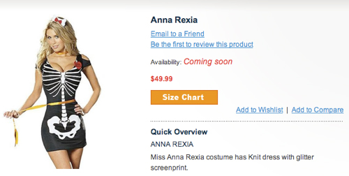 """Anna Rexia"" Eating Disorder Halloween Costume Pulled From Ricky's"