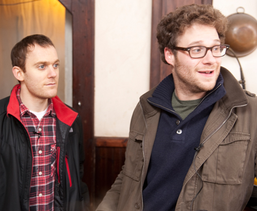Writer WILL REISER and SETH ROGEN on the set of 50/50.
