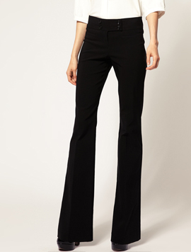 Kick Flare Pants With Button Detail