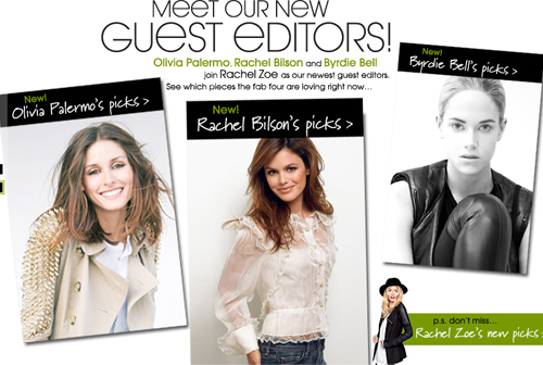 Rachel Bilson and Olivia Palmero Join  Rachel Zoe as Piperlime Guest Editor