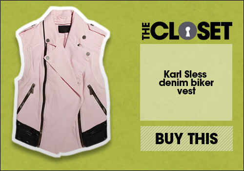 Karl Sless denim biker vest
