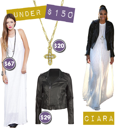 Under $150: Ciara's Oversized Maxi Dress with Motorcycle Jacket Effortless Look