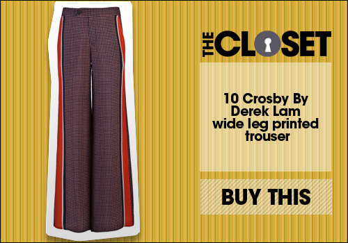 10 Crosby By Derek Lam wide leg printed trouser