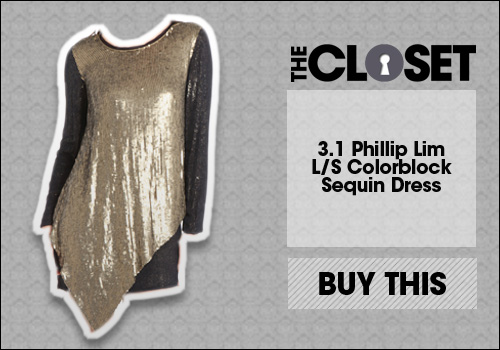 3.1 Phillip Lim L/S Colorblock Sequin Dress in Gold