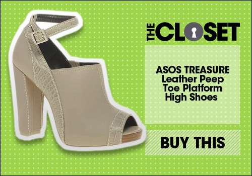 ASOS TREASURE Leather Peep Toe Platform High Shoes