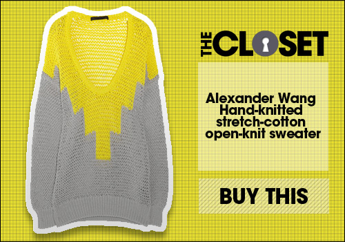 Alexander Wang Hand knitted stretch cotton open knit sweater