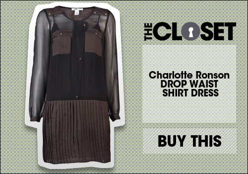 Charlotte Ronson DROP WAIST SHIRT DRESS