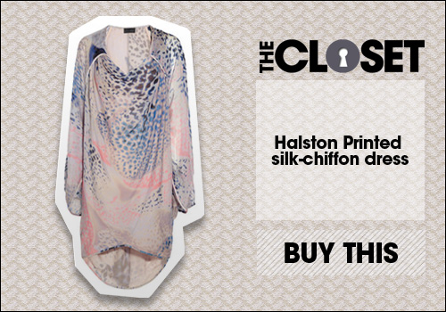 Halston Printed silk-chiffon dress