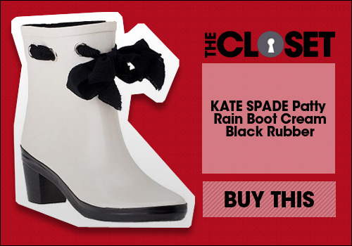 KATE SPADE Patty Rain Boot Cream/Black Rubber 
