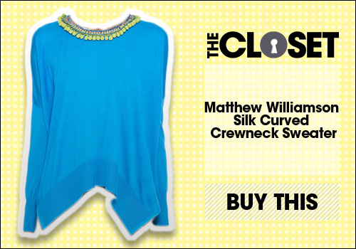 Matthew Williamson Silk Curved Crewneck Sweater
