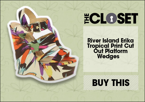 River Island Erika Tropical Print Cut Out Platform Wedges