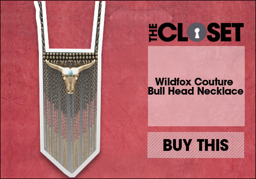 Wildfox Couture Bull Head Necklace in Gold