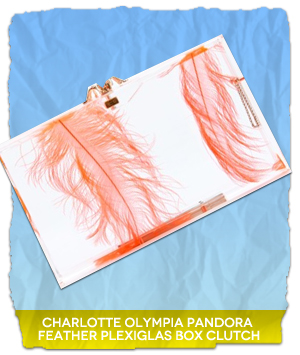 Charlotte Olympia PANDORA FEATHER PLEXIGLAS BOX CLUTCH