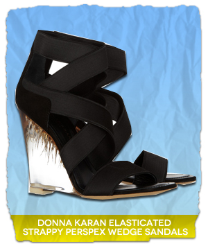 Donna Karan Elasticated Strappy Perspex Wedge Sandals