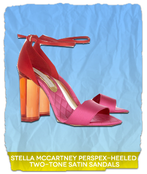 Stella McCartney Perspex Heeled Two Tone Satin Sandals