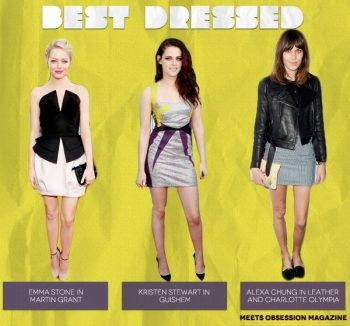 Best Dressed (from left to right): Emma Stone, Kristen Stewart, Alexa Chung