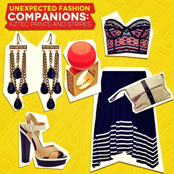 Unexpected Fashion Companions Aztec Prints And Stripes Look