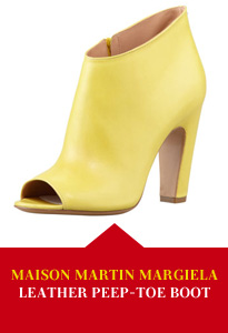 Maison Martin Margiela Leather Peep Toe Ankle Boot