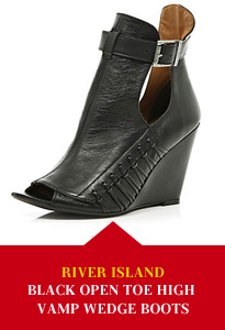 River Island Black Open Toe High Vamp Wedge Boots