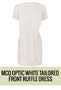 Optic White Tailored Front Ruffle Dress
