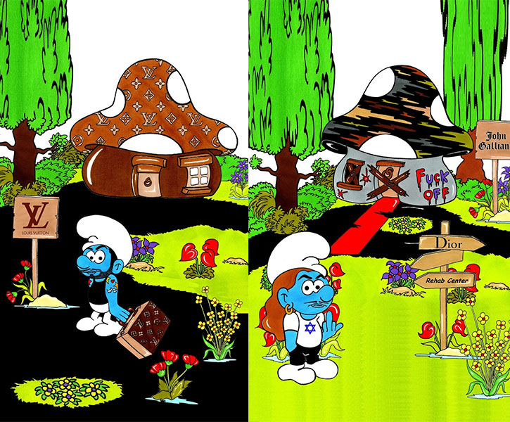 (left): SMURFASHION ART The Fashion Smurfs Louis Vuitton & Marc Jacobs Humor Chic By AleXsandro Palombo (right): SMURFASHIO