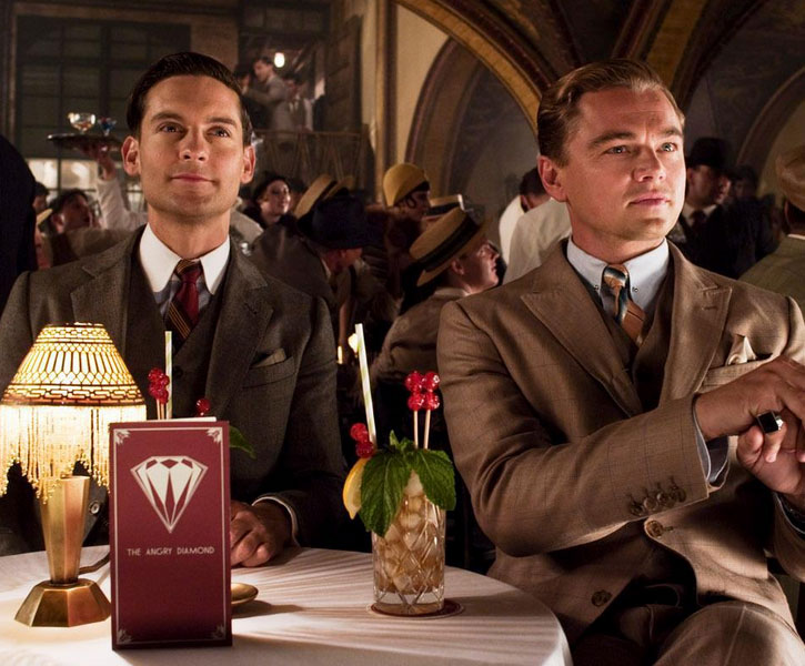 """Tobey Maguire (left) Leonardo DiCaprio (right) in Baz Luhrmann's """"The Great Gatsby"""""""