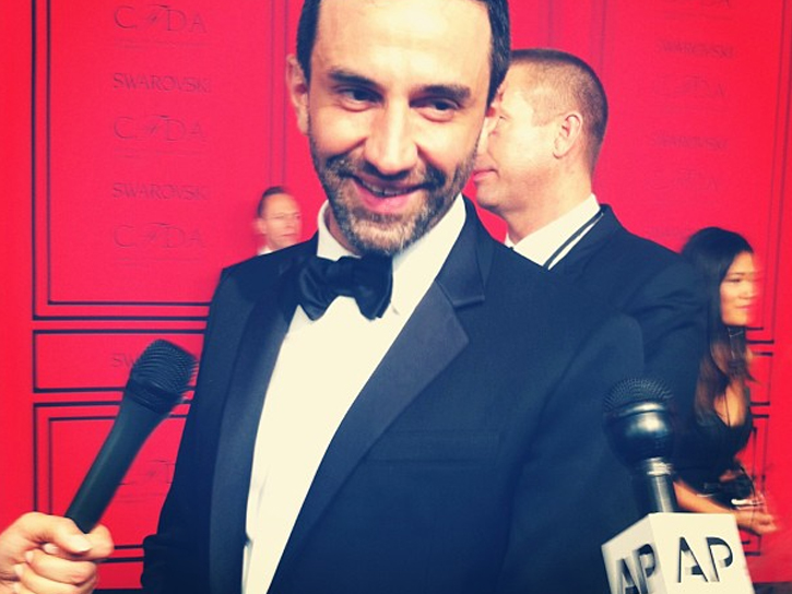 Riccardo Tisci of Givenchy, recipient of CFDA's International Award.  Courtesy photo, CFDA instagram.