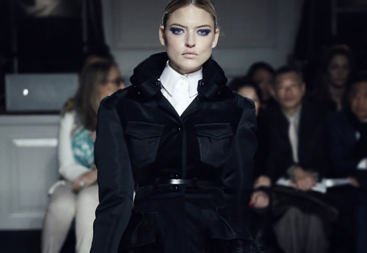 Wu tested out his beauty line by having models from his FW13 show wearing his violet eyeshadow.