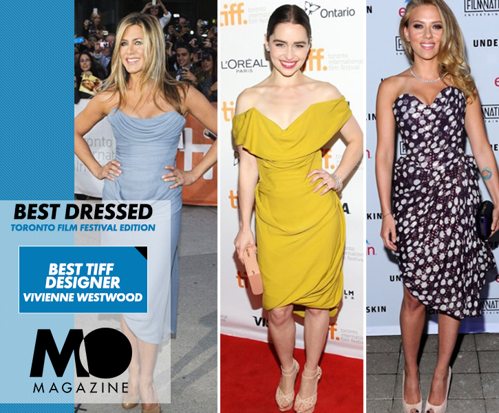 Jennifer Aniston, Scarlett Johansson, and Emila Clarke in Vivenne Westwood