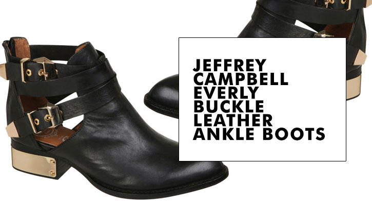 Jeffrey Campbell Everly Buckle Leather Ankle Boots Black