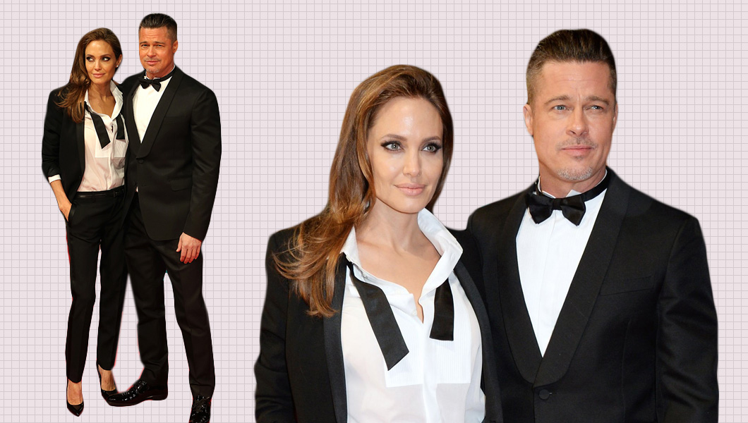 Brad Pitt In Valentino And Angelina Jolie In Saint Laurent