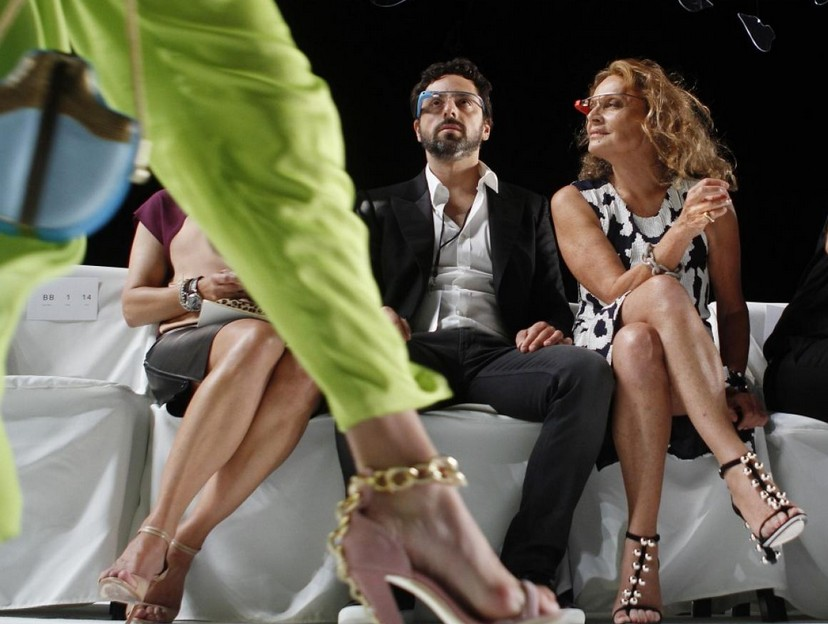 Diane Von Furstenberg with Google co-founder Sergey Brin at the 2013 spring/summer collection presentation