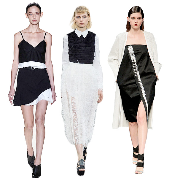 Left to right: Spring/Summer 2014 - Victoria Beckham, Erdem And Helmut Lang