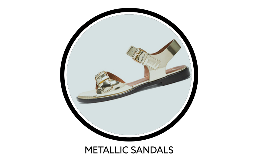 Givenchy Robertha Metallic Calfskin Leather Flat Sandals In Gold