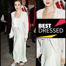 Best Pastel Pairing: Lily Collins in Houghton